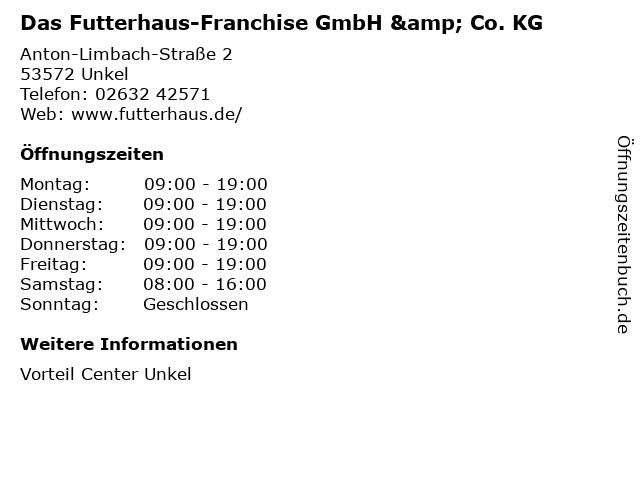 Das Futterhaus-Franchise GmbH & Co. KG in Unkel: Adresse und Öffnungszeiten