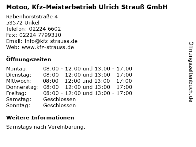 Motoo, Kfz-Meisterbetrieb Ulrich Strauß GmbH in Unkel: Adresse und Öffnungszeiten