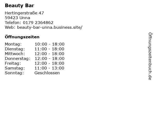 Beauty Bar in Unna: Adresse und Öffnungszeiten