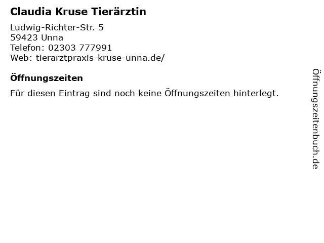 Claudia Kruse Tierärztin in Unna: Adresse und Öffnungszeiten