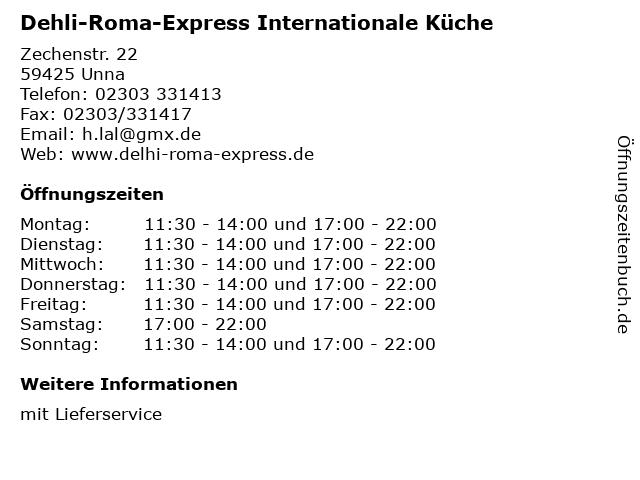 Dehli-Roma-Express Internationale Küche in Unna: Adresse und Öffnungszeiten