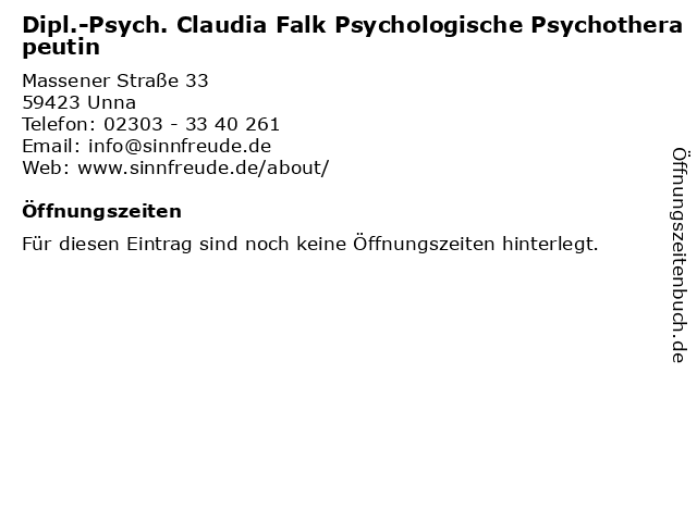 Dipl.-Psych. Claudia Falk Psychologische Psychotherapeutin in Unna: Adresse und Öffnungszeiten
