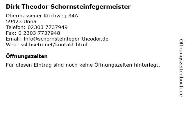 Dirk Theodor Schornsteinfegermeister in Unna: Adresse und Öffnungszeiten