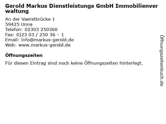 Gerold Markus Dienstleistungs GmbH Immobilienverwaltung in Unna: Adresse und Öffnungszeiten