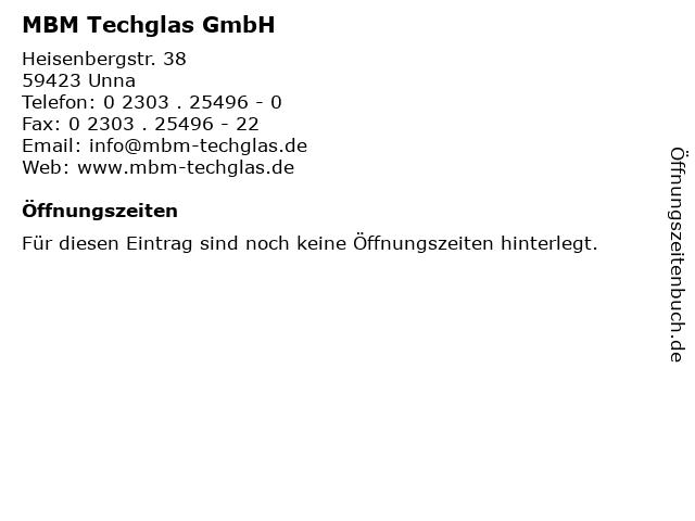 MBM Techglas GmbH in Unna: Adresse und Öffnungszeiten