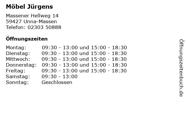 ᐅ öffnungszeiten Möbel Jürgens Massener Hellweg 14 In Unna Massen