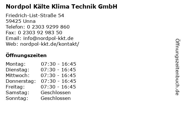 Nordpol Kälte Klima Technik GmbH in Unna: Adresse und Öffnungszeiten