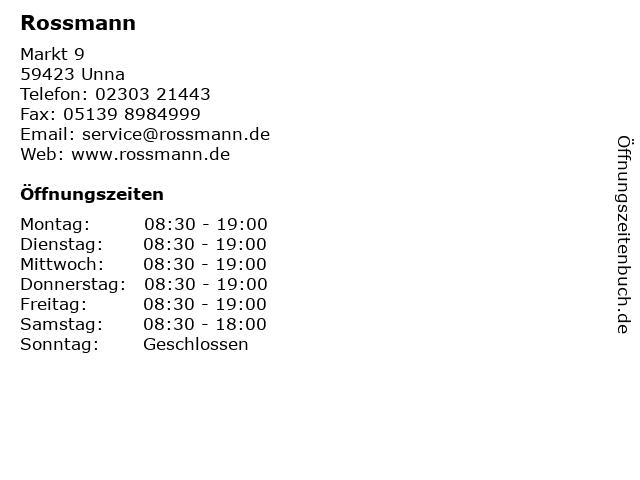 Dirk Rossmann GmbH in Unna: Adresse und Öffnungszeiten