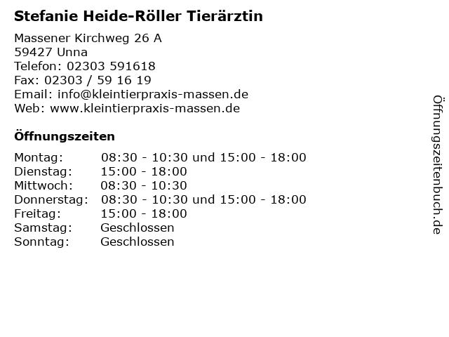 Stefanie Heide-Röller Tierärztin in Unna: Adresse und Öffnungszeiten