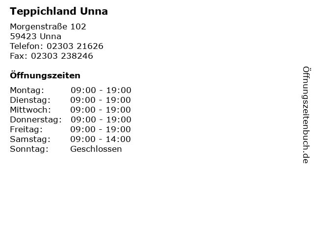 ᐅ Offnungszeiten Teppichland Unna Morgenstrasse 102 In Unna