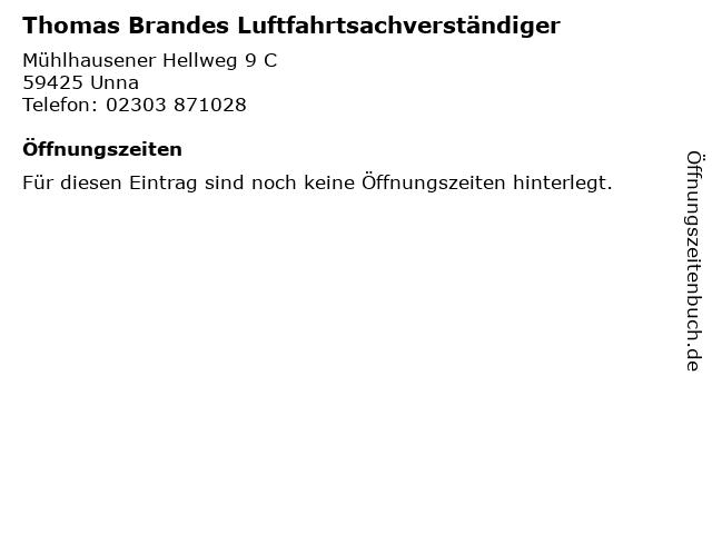 Thomas Brandes Luftfahrtsachverständiger in Unna: Adresse und Öffnungszeiten
