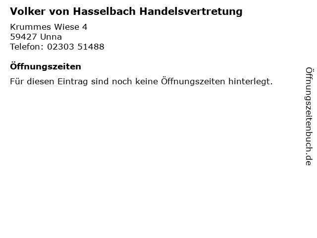 Volker von Hasselbach Handelsvertretung in Unna: Adresse und Öffnungszeiten