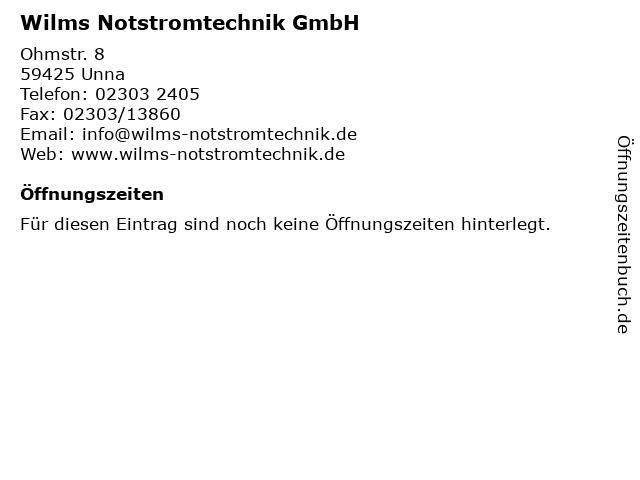 Wilms Notstromtechnik GmbH in Unna: Adresse und Öffnungszeiten