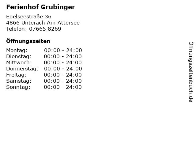 Ferienhof Grubinger in Unterach Am Attersee: Adresse und Öffnungszeiten