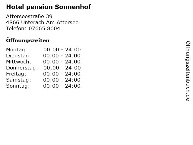 Hotel pension Sonnenhof in Unterach Am Attersee: Adresse und Öffnungszeiten