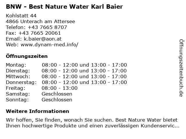 BNW - Best Nature Water Karl Baier in Unterach am Attersee: Adresse und Öffnungszeiten