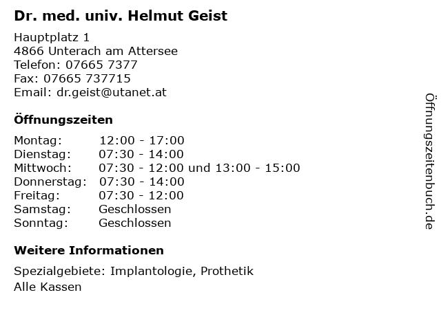 Dr. med. univ. Helmut Geist in Unterach am Attersee: Adresse und Öffnungszeiten