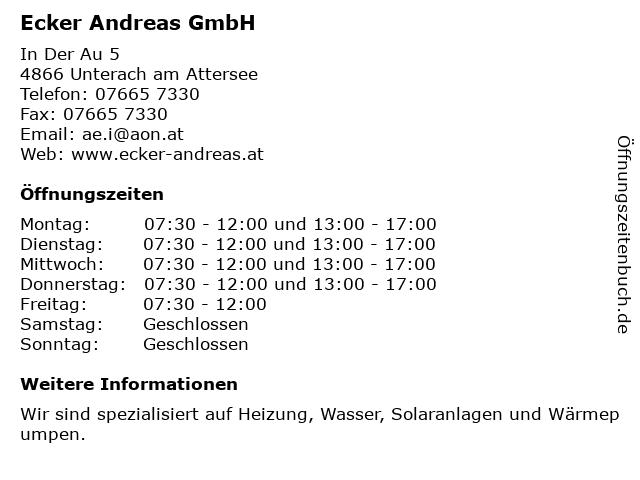 Ecker Andreas GmbH in Unterach am Attersee: Adresse und Öffnungszeiten