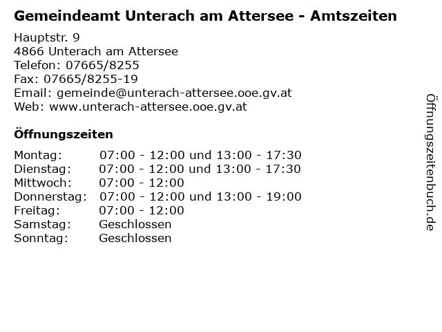 Gemeindeamt Unterach am Attersee - Amtszeiten in Unterach am Attersee: Adresse und Öffnungszeiten