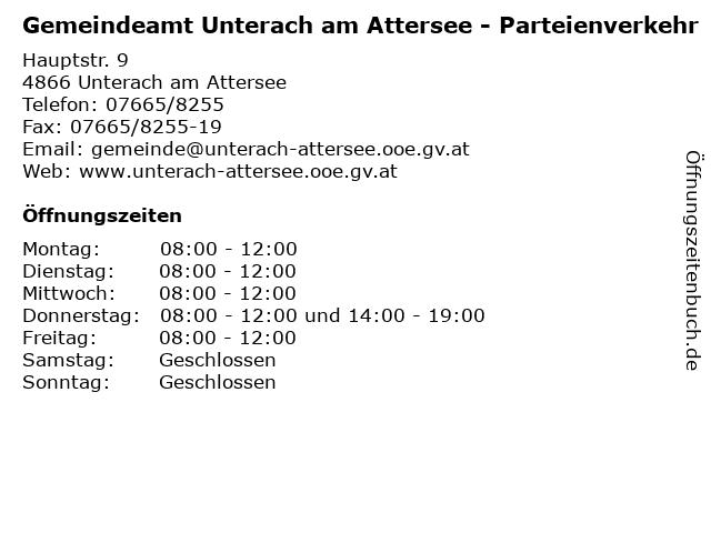 Gemeindeamt Unterach am Attersee - Parteienverkehr in Unterach am Attersee: Adresse und Öffnungszeiten