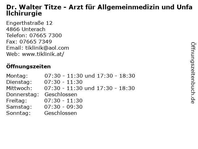 Dr. Walter Titze in Unterach: Adresse und Öffnungszeiten