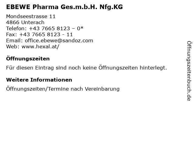 EBEWE Pharma Ges.m.b.H. Nfg.KG in Unterach: Adresse und Öffnungszeiten