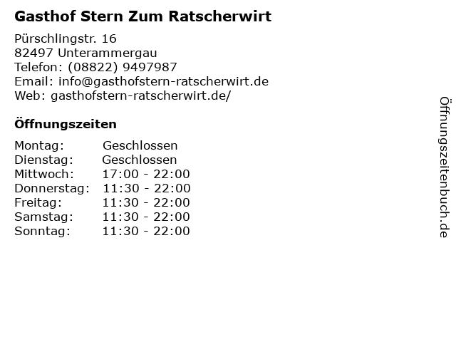 Gasthof Stern Zum Ratscherwirt in Unterammergau: Adresse und Öffnungszeiten