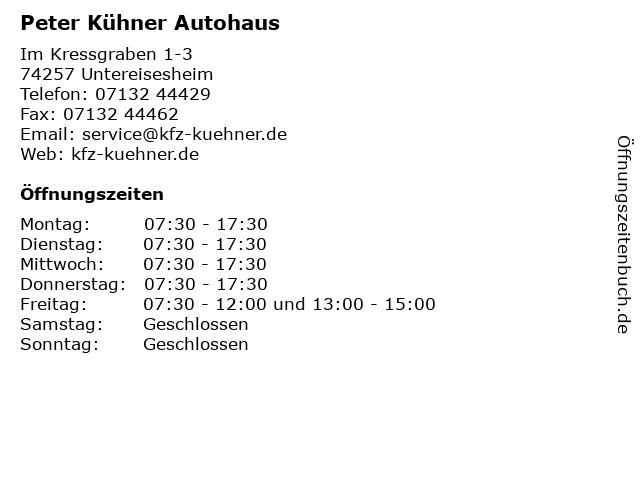 Peter Kühner Autohaus in Untereisesheim: Adresse und Öffnungszeiten