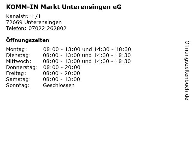 KOMM-IN Markt Unterensingen eG in Unterensingen: Adresse und Öffnungszeiten