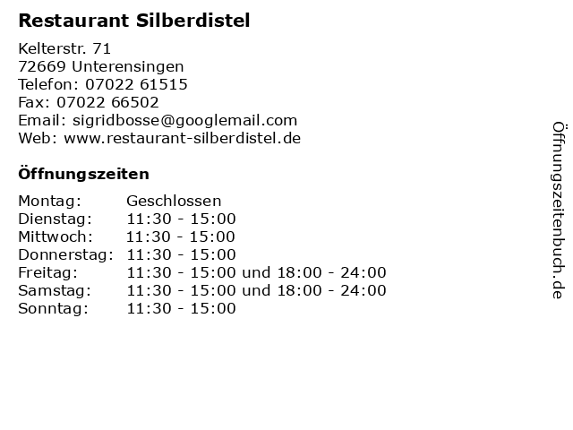 Restaurant Silberdistel in Unterensingen: Adresse und Öffnungszeiten