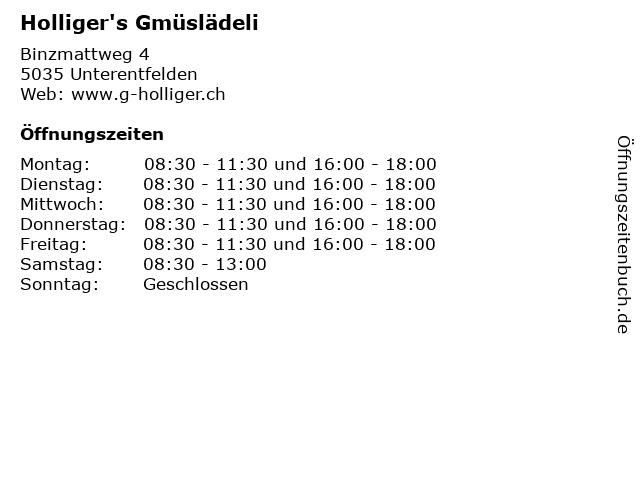 Holliger's Gmüslädeli in Unterentfelden: Adresse und Öffnungszeiten