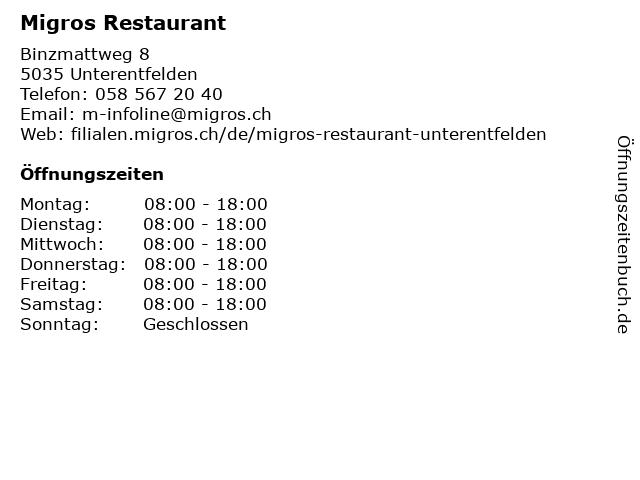 Migros Restaurant in Unterentfelden: Adresse und Öffnungszeiten