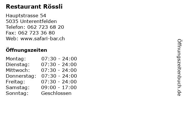 Restaurant Rössli in Unterentfelden: Adresse und Öffnungszeiten