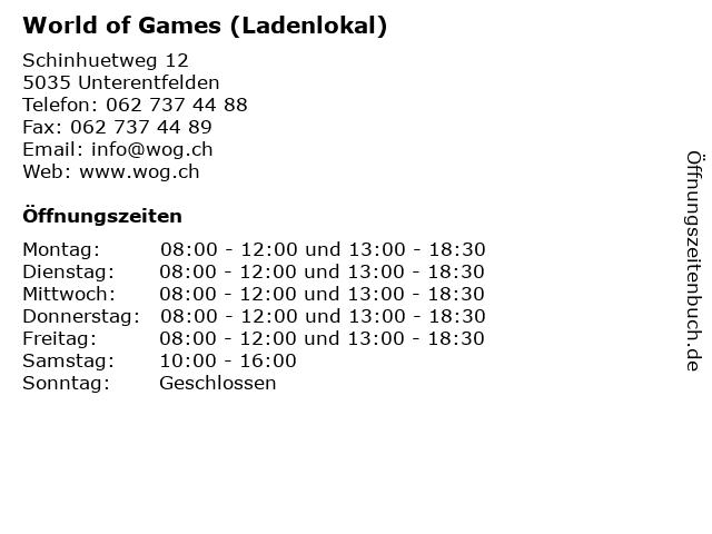 World of Games (Ladenlokal) in Unterentfelden: Adresse und Öffnungszeiten