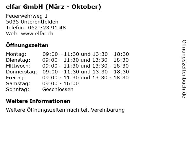 elfar GmbH (März - Oktober) in Unterentfelden: Adresse und Öffnungszeiten