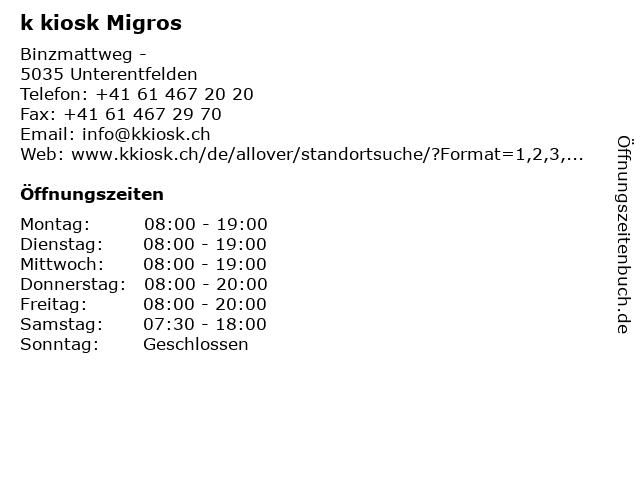 k kiosk Migros in Unterentfelden: Adresse und Öffnungszeiten