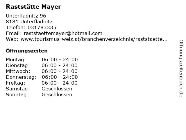 Raststätte Mayer in Unterfladnitz: Adresse und Öffnungszeiten