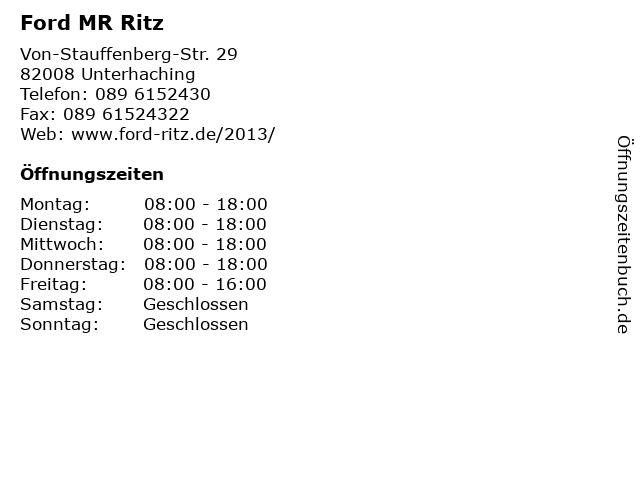 Ford MR Ritz in Unterhaching: Adresse und Öffnungszeiten