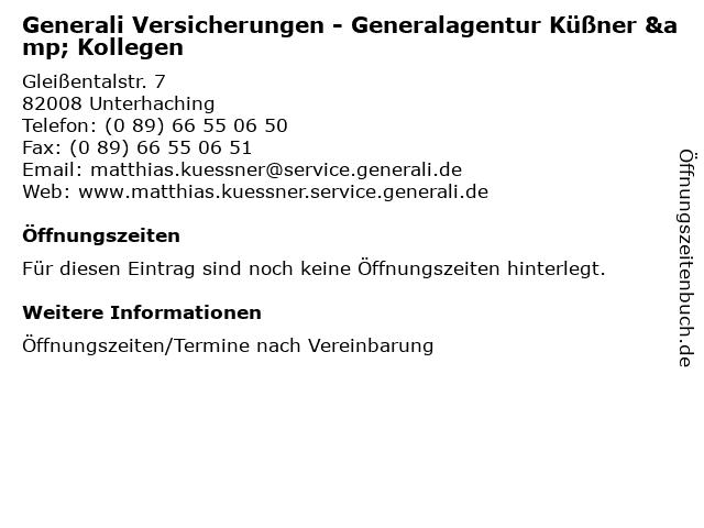 ᐅ Offnungszeiten Generali Versicherungen Generalagentur Kussner