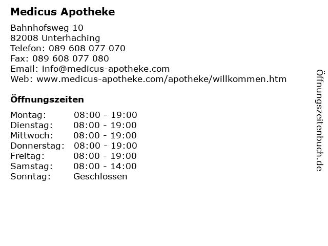 Medicus Apotheke in Unterhaching: Adresse und Öffnungszeiten