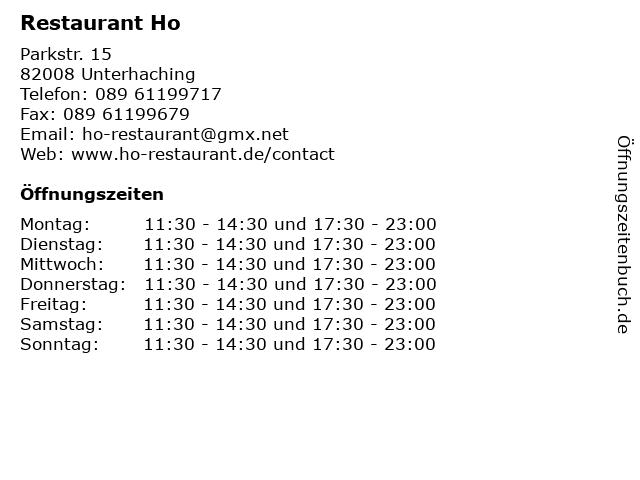 Restaurant Ho in Unterhaching: Adresse und Öffnungszeiten