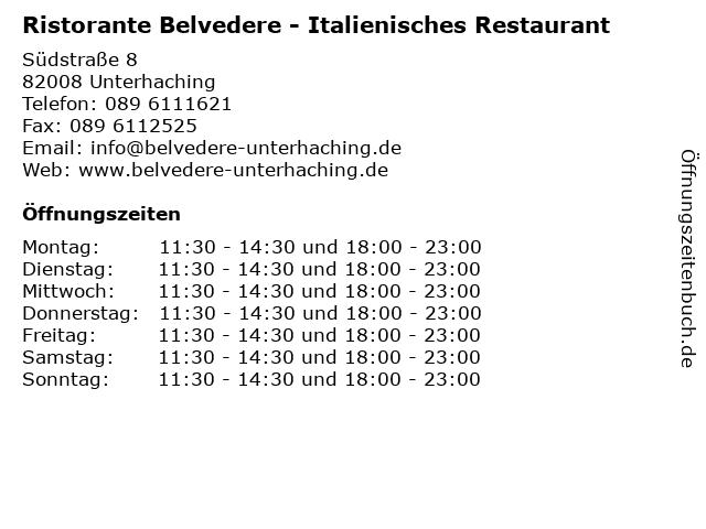 Ristorante Belvedere - Italienisches Restaurant in Unterhaching: Adresse und Öffnungszeiten