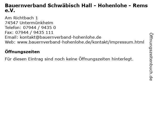 Bauernverband Schwäbisch Hall - Hohenlohe - Rems e.V. in Untermünkheim: Adresse und Öffnungszeiten