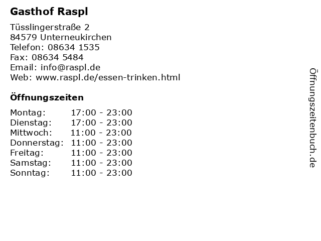 Gasthof Raspl in Unterneukirchen: Adresse und Öffnungszeiten