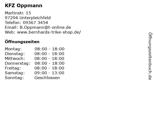 KFZ Oppmann in Unterpleichfeld: Adresse und Öffnungszeiten