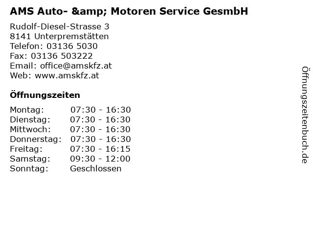 AMS Auto- & Motoren Service GesmbH in Unterpremstätten: Adresse und Öffnungszeiten