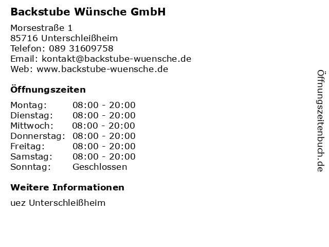 Backstube Wünsche GmbH in Unterschleißheim: Adresse und Öffnungszeiten