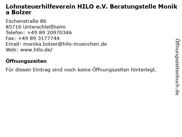 Lohnsteuerhilfeverein HILO e.V. Beratungstelle Monika Bolzer in Unterschleißheim: Adresse und Öffnungszeiten