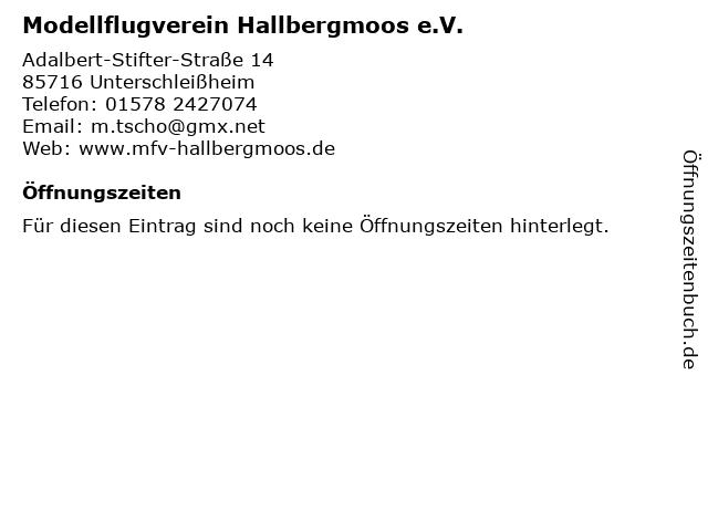Modellflugverein Hallbergmoos e.V. in Unterschleißheim: Adresse und Öffnungszeiten