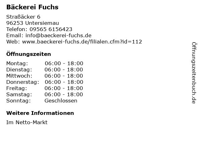 Bäckerei Fuchs in Untersiemau: Adresse und Öffnungszeiten